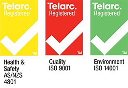 Telarc 9001 – Quality, Telarc 14001 – Environmental, AS/NZS 4801 – Health & Safety